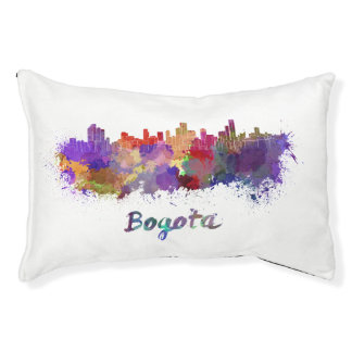 Bogota skyline in watercolor pet bed