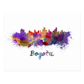 Bogota skyline in watercolor postcard