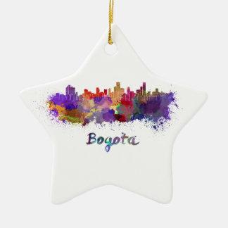 Bogota skyline in watercolor splatters ceramic star ornament