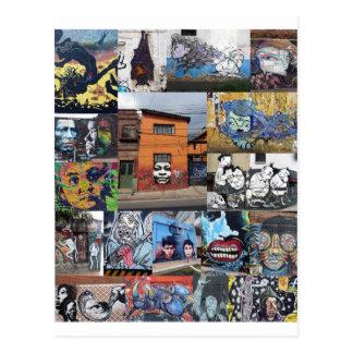 Bogota street art mural montage postcard