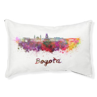 Bogota v2 skyline in watercolor pet bed