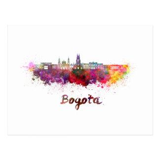 Bogota v2 skyline in watercolor postcard