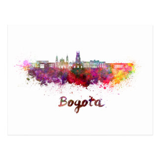 Bogota v2 skyline in watercolor postcard