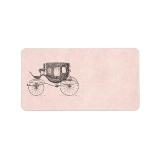 Boguet antique hippomobile de chariot vintage de étiquette d'adresse