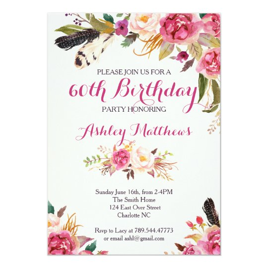 bohemain Floral Birthday Invitation