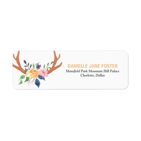 Bohemian Antlers Watercolor Flowers Tribal Return Address Label