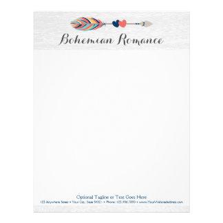 Bohemian Arrow & Hearts On Rustic Wood Boho Chic Letterhead