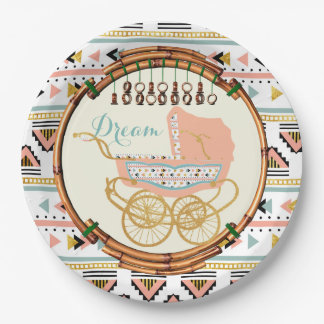 Bohemian Baby Shower Plates Coral and Turquoise