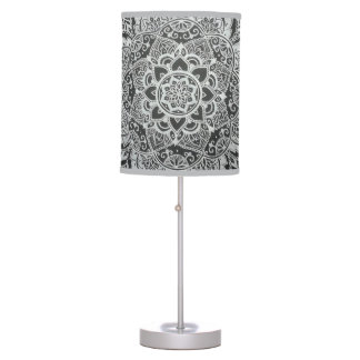 Bohemian Black and White Floral Abstract Desk Lamps