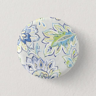 Bohemian Blue Flower 1 Inch Round Button