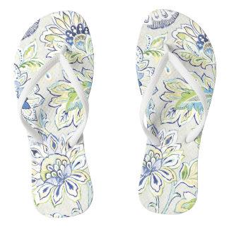 Bohemian Blue Flower Flip Flops
