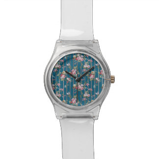 Bohemian blue pink red floral modern stripes watch