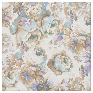Bohemian blush lavender brown teal roses floral fabric