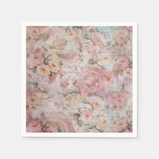 Bohemian blush pink collage floral typography paper napkin