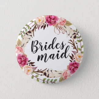 Bohemian Boho Floral Wreath Calligraphy Bridesmaid 2 Inch Round Button