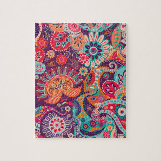 Bohemian Boho MOD Hippy Chic Flower Pattern Jigsaw Puzzle