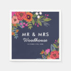 Bohemian Bouquet - Navy Blue Mr & Mrs Wedding Paper Napkin