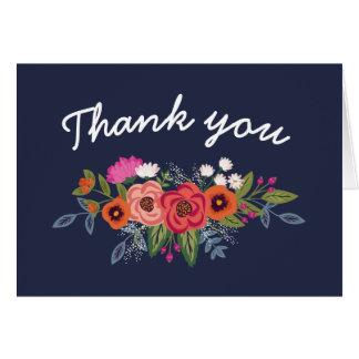 Bohemian Bouquet - Navy Blue Thank You Card