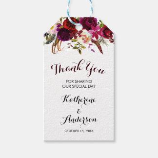 Bohemian Burgundy Floral Fall Wedding Thank You Gift Tags