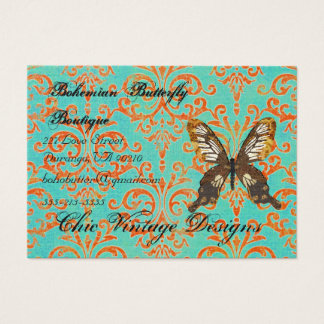 Bohemian Butterfly Boutique Turqoise & Orange Dama Business Card