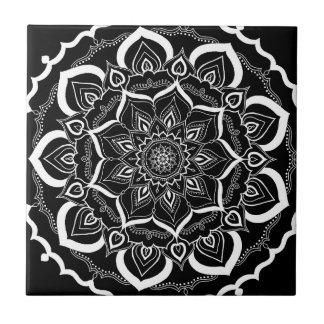 Bohemian Chic Black Henna Mehendi Mandala Pattern Tile