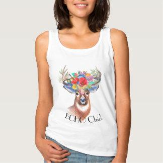 Bohemian chic deer floral crown tank top