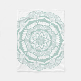 Bohemian Chic Henna Mehendi Mandala Pattern Fleece Blanket