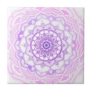 Bohemian Chic Pink Henna Mehendi Mandala Pattern Tile