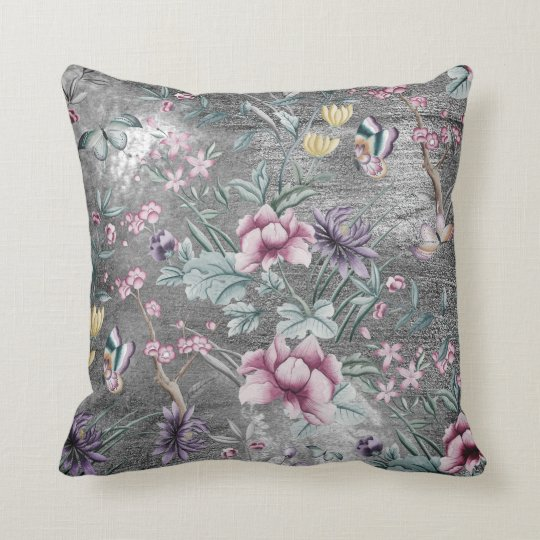Bohemian Chinoiserie Teal Butterfly Grey Grungy Throw Pillow