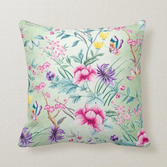 Bohemian Chinoiserie Tropical Mint Green Flowers Throw Pillow