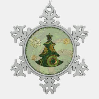Bohemian Christmas Tree Snowflake Pewter Christmas Ornament