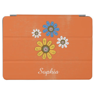 Bohemian Colorful Flowers Custom Name iPad Air Cover