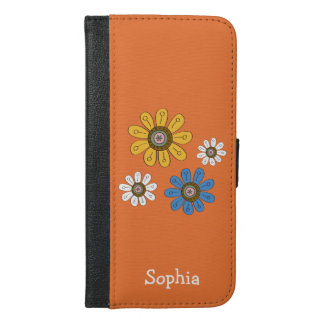 Bohemian Colorful Flowers Custom Name iPhone 6/6s Plus Wallet Case