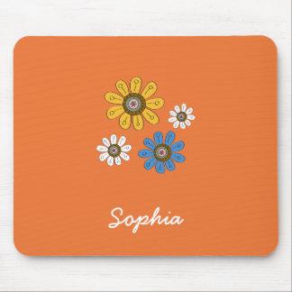 Bohemian Colorful Flowers Custom Name Mouse Pad