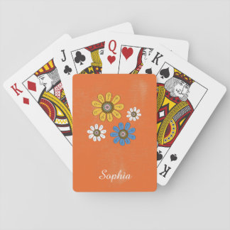 Bohemian Colorful Flowers Custom Name Poker Deck