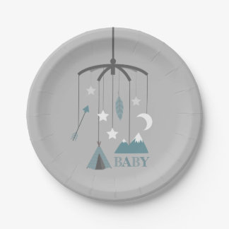 Bohemian Crib Mobile Modern Baby Shower Blue Paper Plate