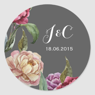 Bohemian Dark Floral Wedding Invitation Stickers