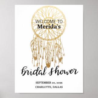 Bohemian Dreamcatcher Gold Bridal Shower Script Poster