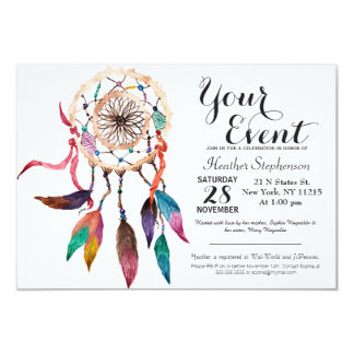 Bohemian Dreamcatcher in Vibrant Watercolor Paint Card
