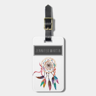 Bohemian Dreamcatcher in Vibrant Watercolor Paint Luggage Tag