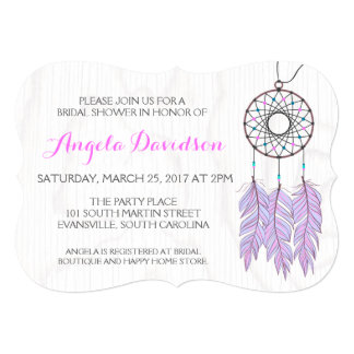 Bohemian Dreamcatcher Rustic Wedding Bridal Shower Card