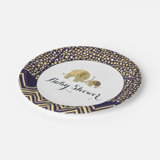 Bohemian Elephant and Chevron Baby Shower 7 Inch Paper Plate