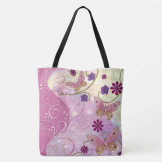 Bohemian Fairy Tale Folk Art Jeweled Tote Bag