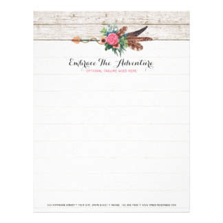 Bohemian Feather Arrow & Rose on Rustic White Wood Letterhead