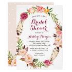 Bohemian Feather Boho Floral Wreath Bridal Shower Card