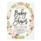 Bohemian Feathers and Floral Wreath Baby Shower Card