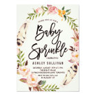 Bohemian Feathers and Floral Wreath Baby Sprinkle Card