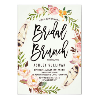 "Bohemian Feathers and Floral Wreath Bridal Brunch 5"" X 7"" Invitation Card"