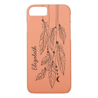 Bohemian Feathers Drawing Mandarin Background iPhone 7 Case