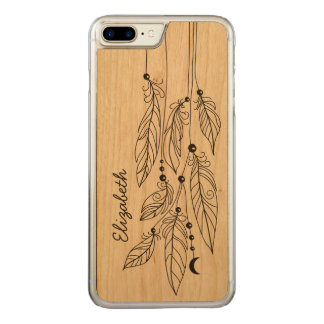 Bohemian Feathers Drawing Name Carved iPhone 8 Plus/7 Plus Case